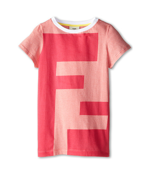 Fendi Kids - Large Logo Short Sleeve Tee (Big Kids) (Berry) Girl