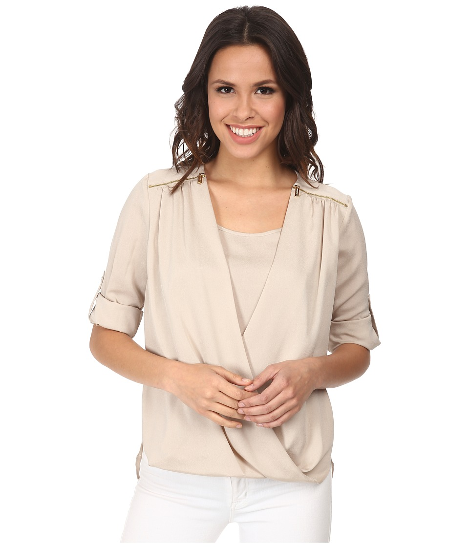 Calvin Klein - V-Neck Drape Roll Sleeve (Latte) Women's Blouse