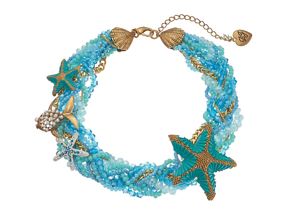 Betsey Johnson - Into The Blue Beaded Collar Necklace (Blue Multi) Necklace
