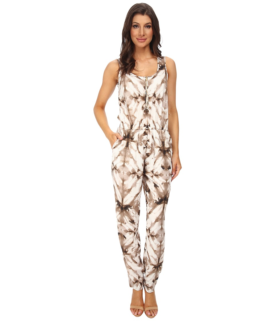 Calvin Klein - Sleeveless Print Tapered Bottom Jumpsuits (Soft White/Latte Combo) Women