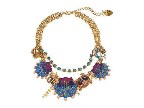 Betsey Johnson - Into The Blue Seashell Frontal Necklace (Multi) Necklace
