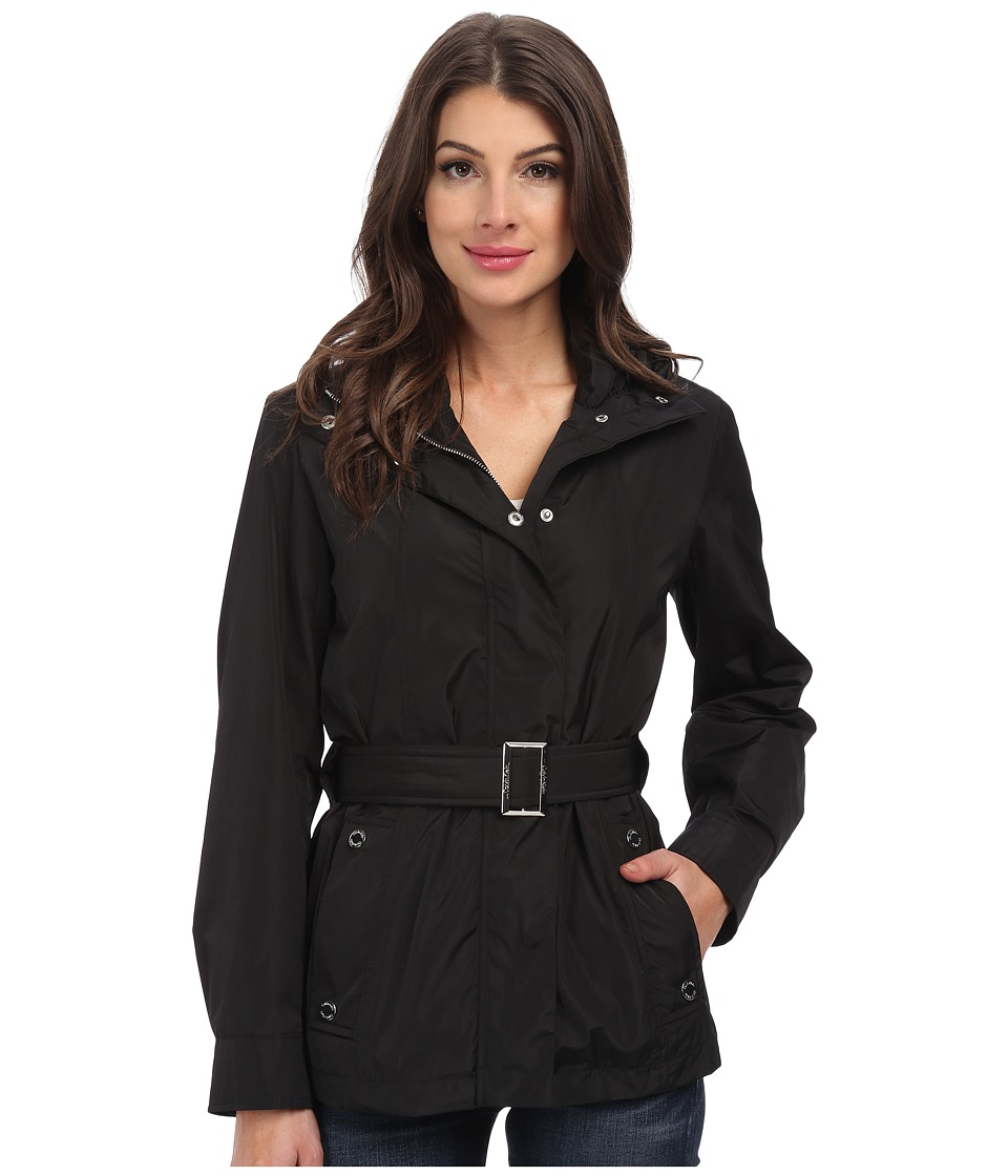 Calvin Klein - Tie Front Coat (Black) Women's Coat