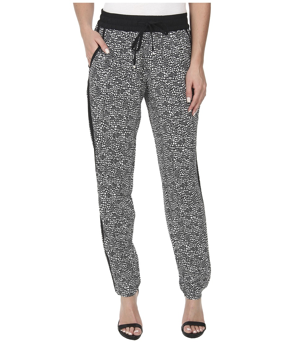 Calvin Klein - Print Tapered Pants (Black/Soft White Combo) Women's Casual Pants