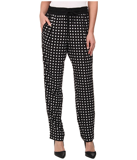 Calvin Klein - Print Tapered Pants (Black Windowpane) Women's Casual Pants