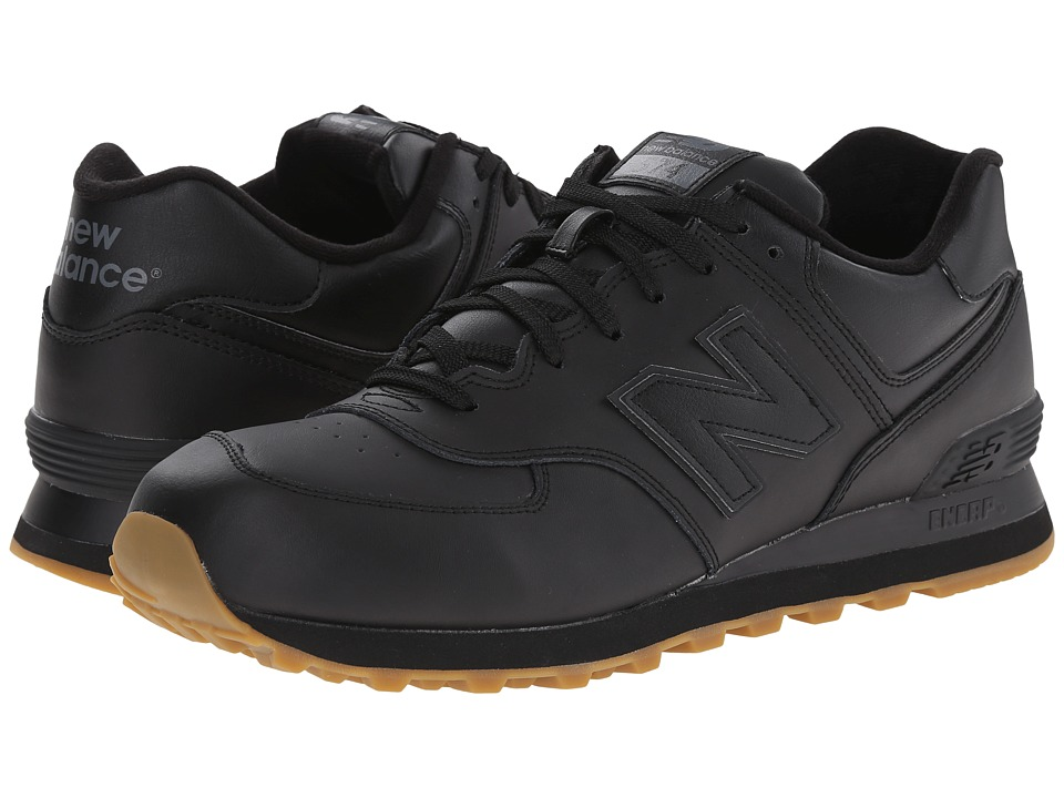 New Balance Classics - 574 - Leather (Black) Men's Shoes