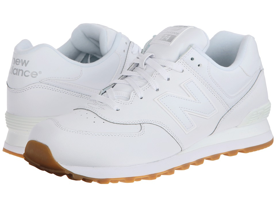 New Balance Classics - 574 - Leather (White) Men's Shoes