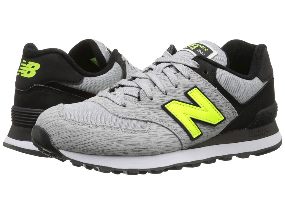 New Balance Classics - 574 - Sweatshirt (Grey/Yellow) Women's Shoes