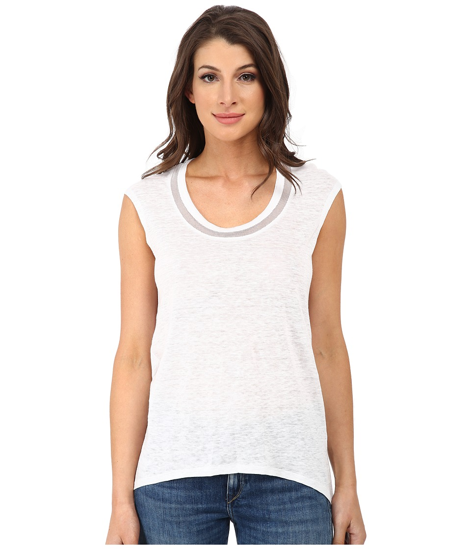 DKNYC - Draped Back Tee w/ Mesh Inserts (White) Women's T Shirt