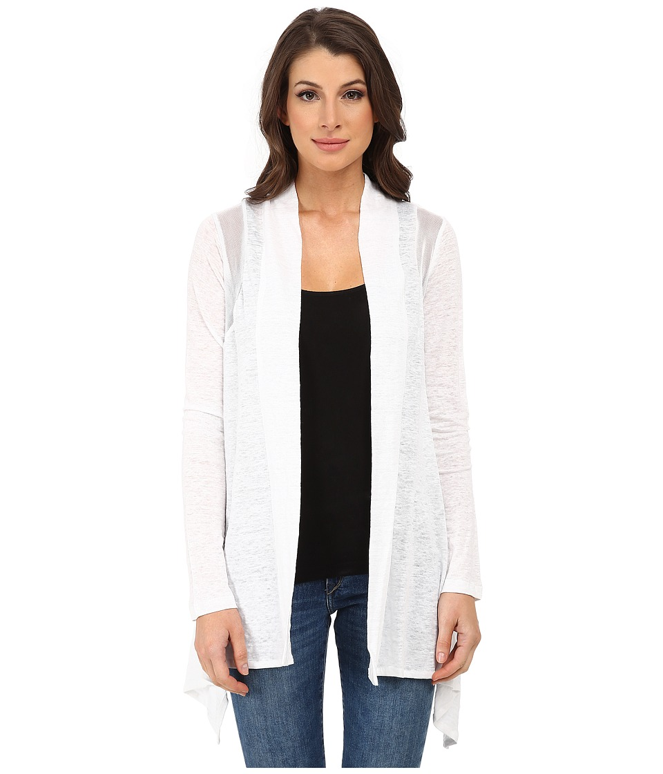 DKNYC Flowy Knit Covering w/ Mesh Piecing (White) Women
