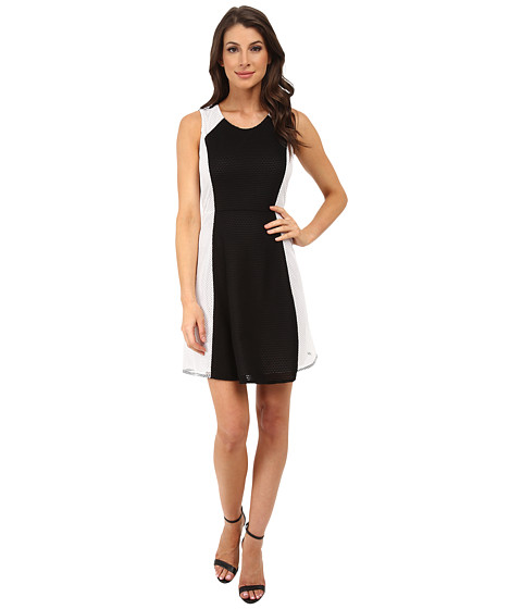 DKNYC - Honey Comb Mesh Pieced Dress (Black) Women's Dress