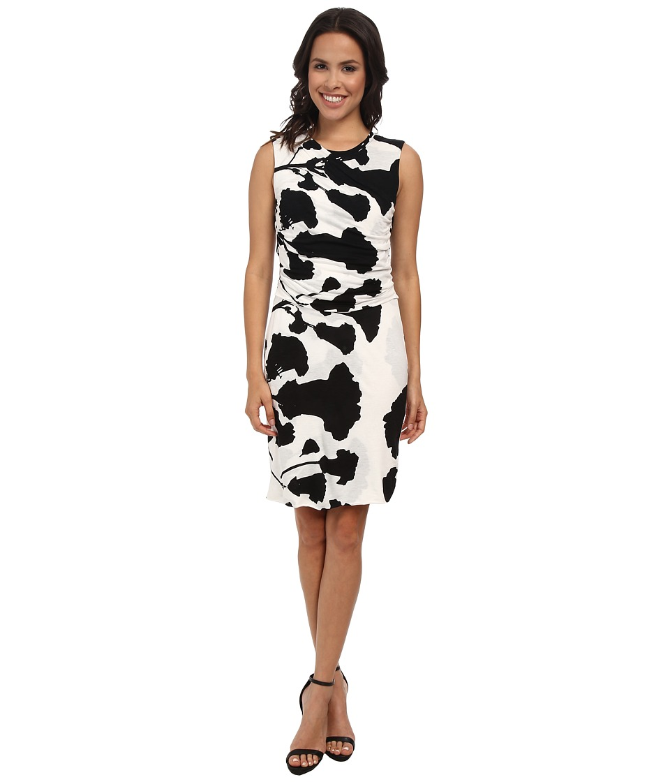 DKNYC - Printed Lightweight Jersey Ruched Dress (Black) Women