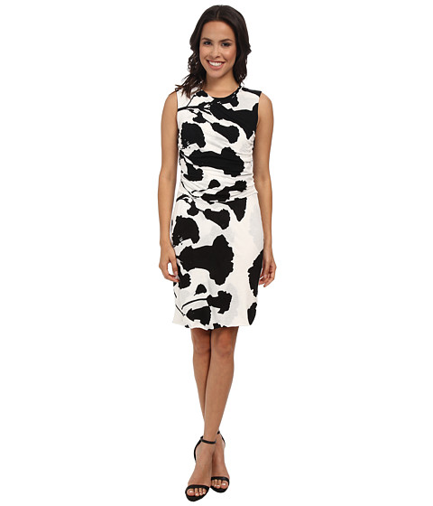 DKNYC - Printed Lightweight Jersey Ruched Dress (Black) Women's Dress