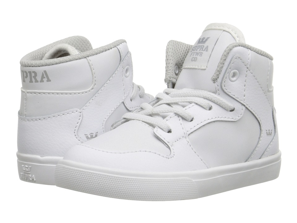 Supra Kids - Vaider (Toddler) (White Leather) Kids Shoes