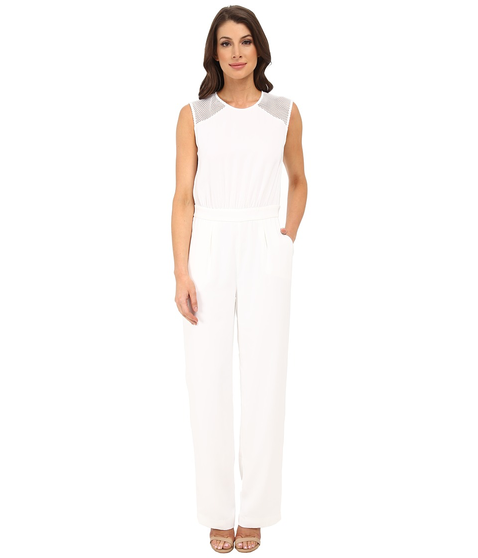 DKNYC - Tech Crepe Straight Leg Jumpsuit w/ Honeycomb Mesh (White) Women's Jumpsuit & Rompers One Piece