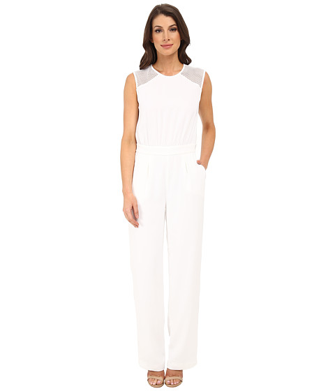 DKNYC - Tech Crepe Straight Leg Jumpsuit w/ Honeycomb Mesh (White) Women's Jumpsuit & Rompers One Piece