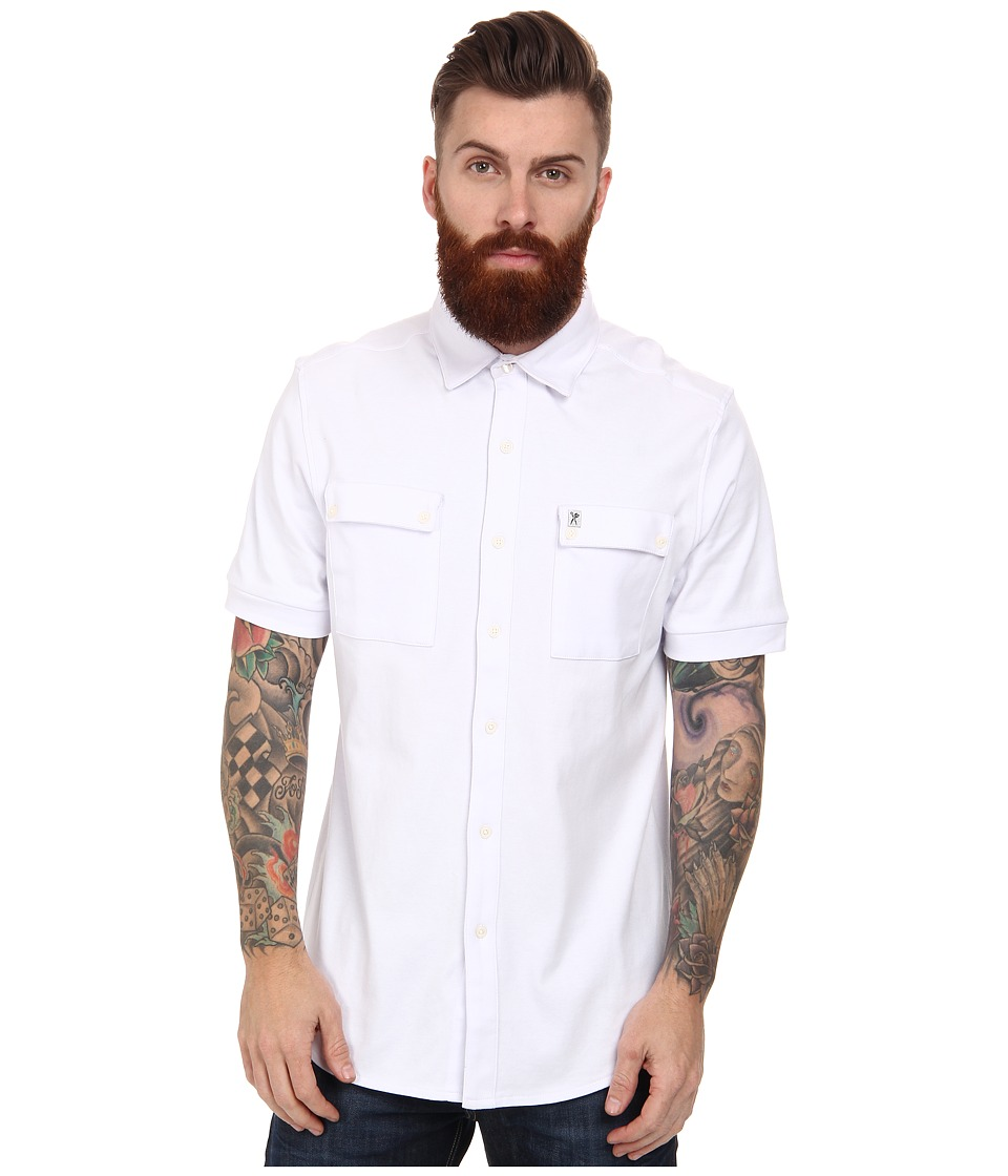Marc Ecko Cut & Sew - Cadet Short Sleeve Coat Front Knit (White) Men's Short Sleeve Button Up