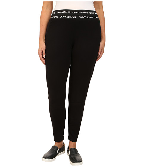 DKNY Jeans - Plus Size Logo Elastic Leggings in Noir (Noir) Women's Casual Pants