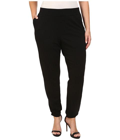 DKNY Jeans - Plus Size Eyelet Pieced Track Pants (Noir) Women