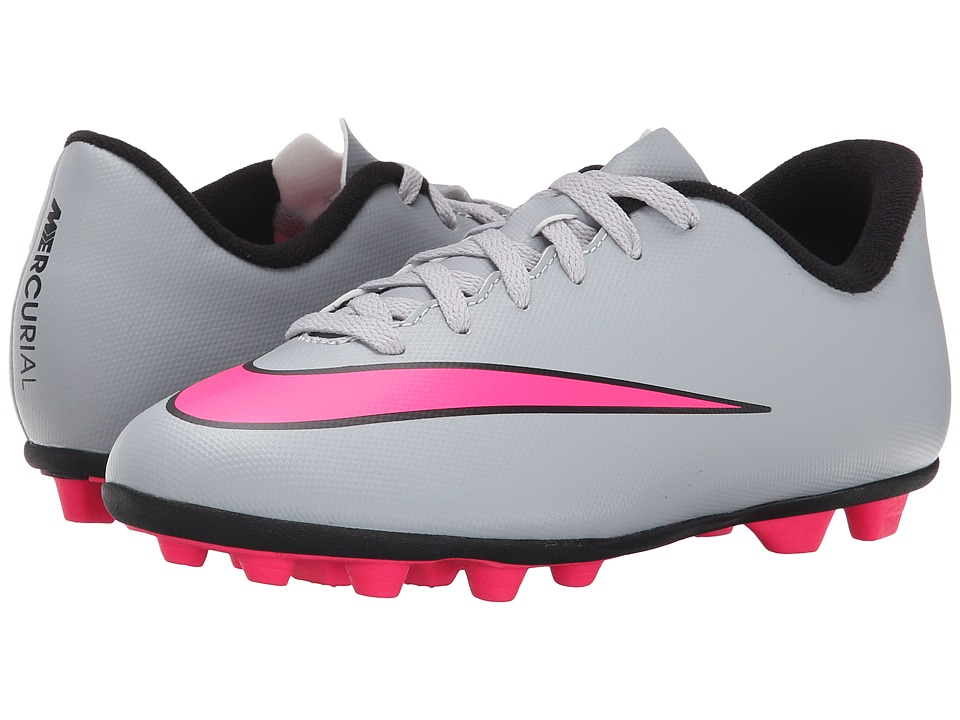 Nike Kids - Jr Mercurial Vortex II FG Soccer (Toddler/Little Kid/Big Kid) (Wolf Grey/Black/Hyper Pink) Kids Shoes