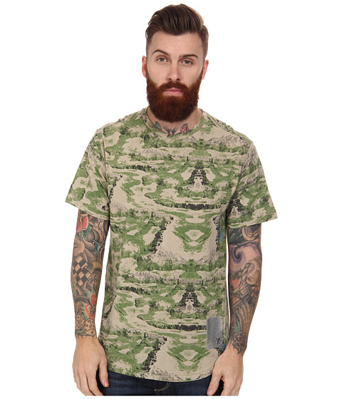 Marc Ecko Cut & Sew - Nomads Camo Printed Short Sleeve Knit Top (Light Stone Camo) Men's Short Sleeve Pullover