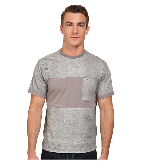 Marc Ecko Cut & Sew - Zippo Pieced Short Sleeve Knit Reflective Print (Silver) Men