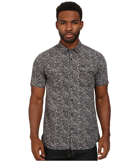Marc Ecko Cut & Sew - Granite Printed Short Sleeve Woven Top (Black) Men's Short Sleeve Button Up