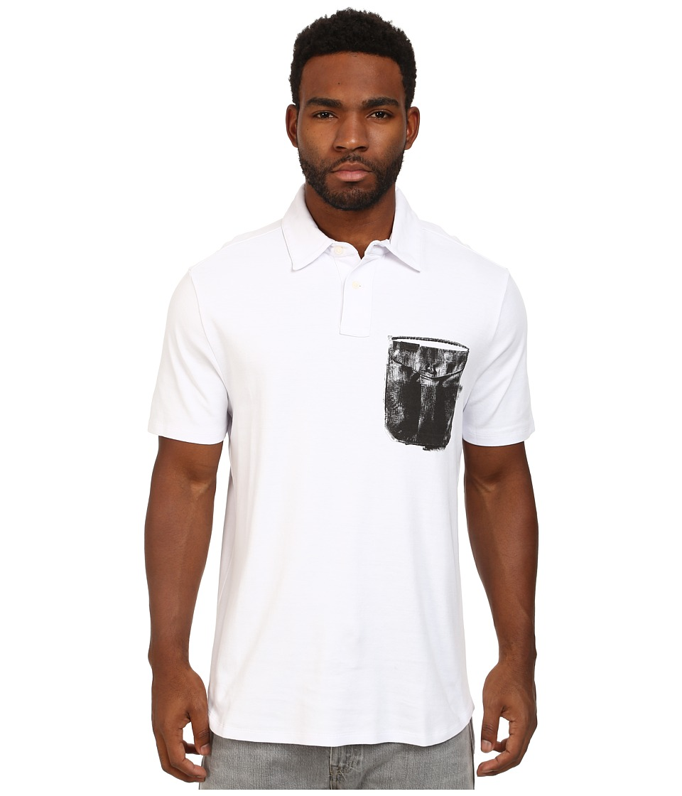 Marc Ecko Cut & Sew - Printed Pocket Short Sleeve Polo (White) Men's Short Sleeve Pullover
