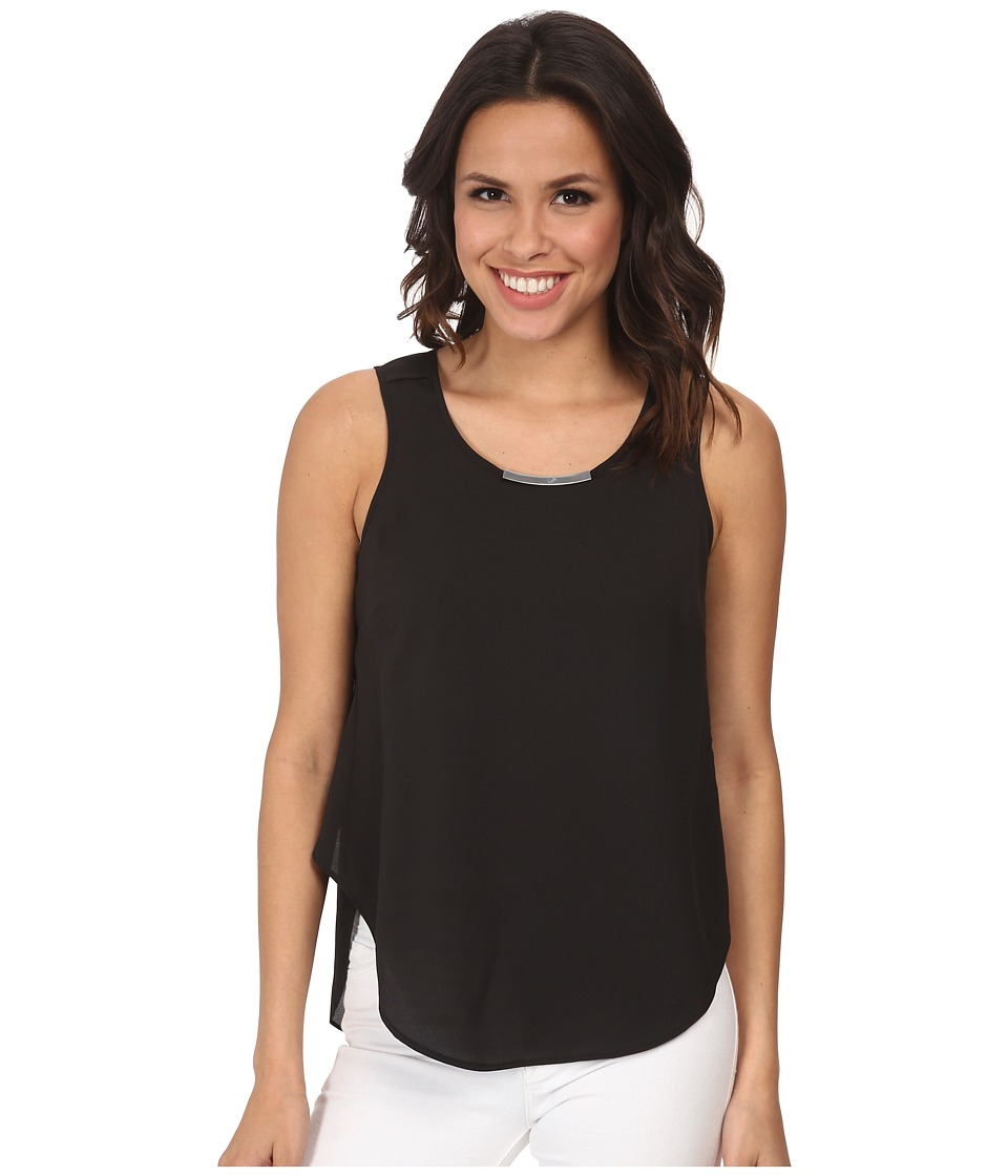 DKNYC - Crepe De Chine Metal Neck Trim Top w/ Chiffon Back (Black) Women