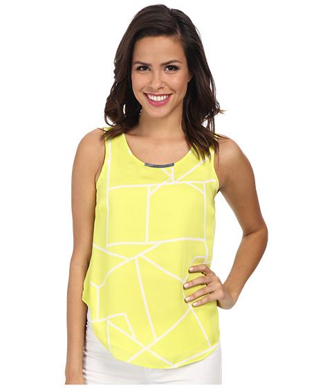 DKNYC - Metal Neck Trim Hi-Low Top w/ Chiffon Back Underlayer (Limeade) Women's Clothing