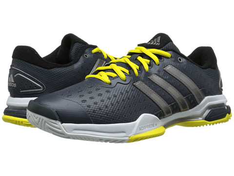 adidas - Barricade Team 4 (Dark Grey/Tech Silver Metallic/Bright Yellow) Men's Tennis Shoes