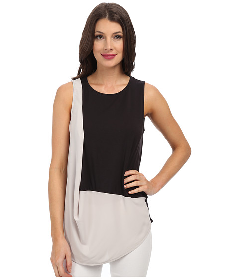 DKNYC - City Jersey w/ Lightweight Georgette Diagonal Drape Top (Overcast) Women's Clothing