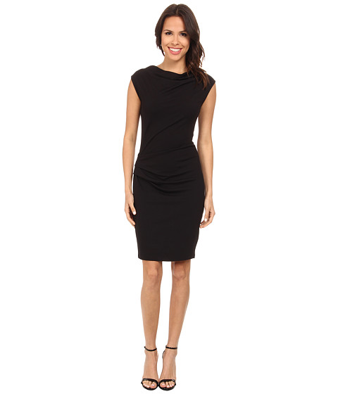 DKNYC - Asymmetric Draped Dress (Black) Women's Dress
