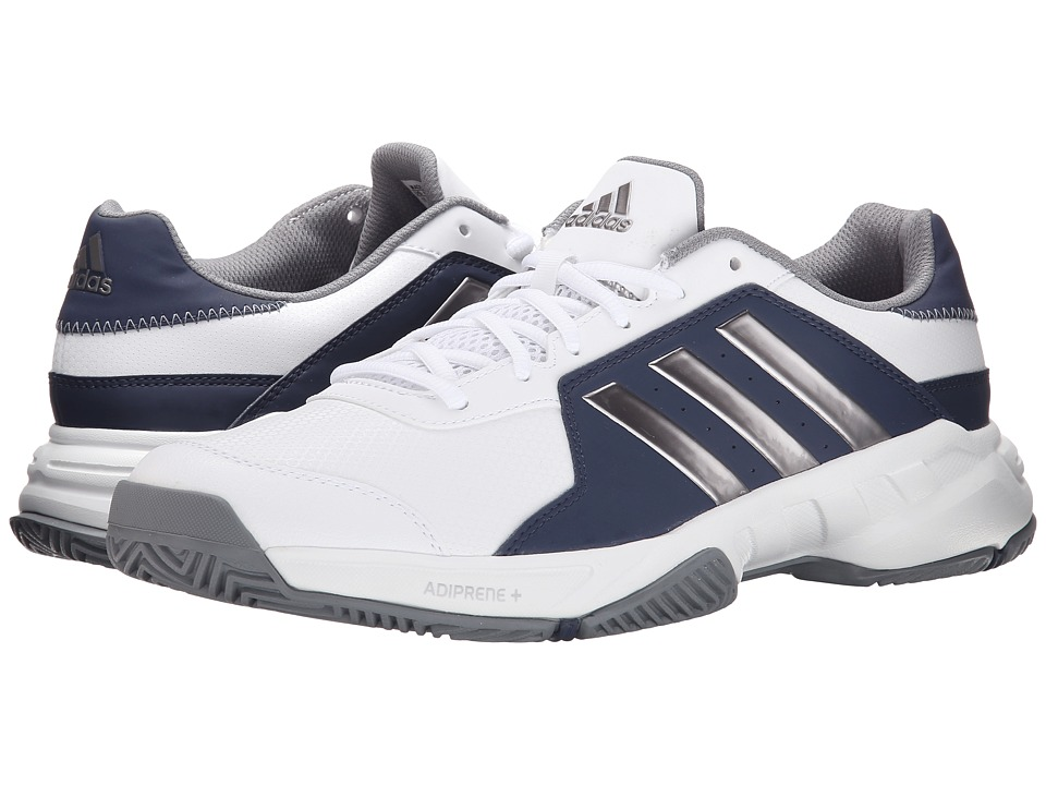 adidas - Barricade Court (White/Tech Silver Metallic/Midnight Grey) Men