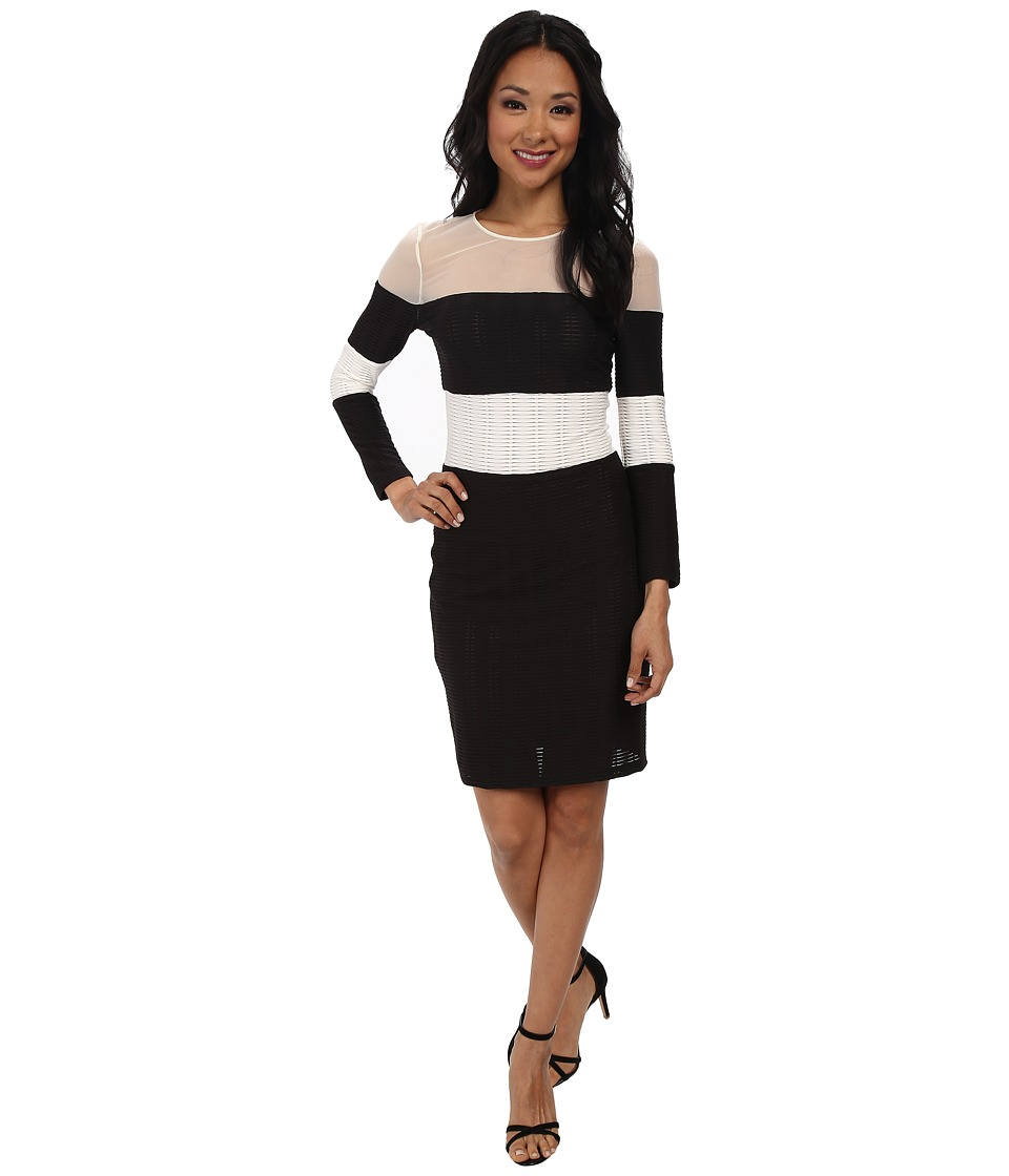 ABS Allen Schwartz Stripe Block Long Sleeve Dress w/ Sheer Panels (Black/Ivory) Women