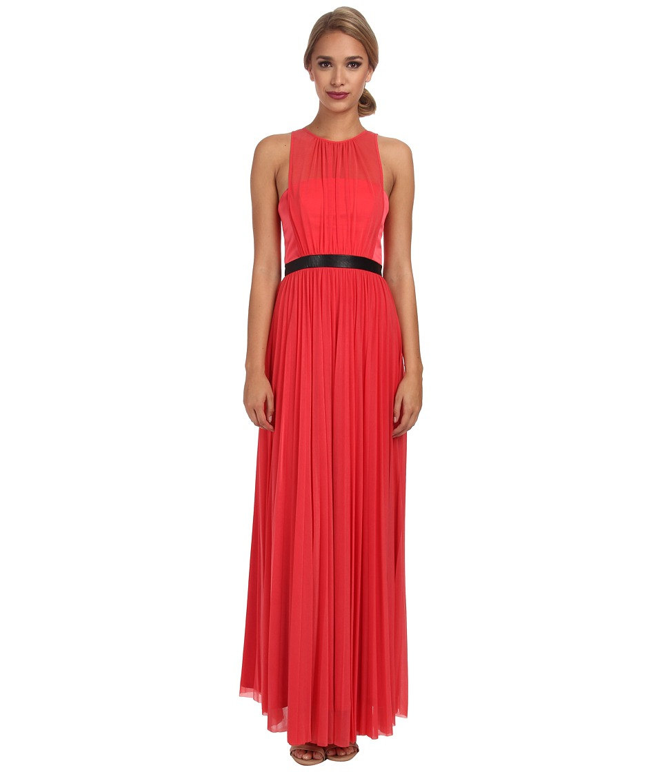 ABS Allen Schwartz Gown w/ Pleated Skirt (Coral) Women