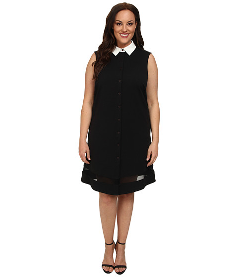 ABS Allen Schwartz - Plus Size Sleeveless Button Down Shirt Dress (Black) Women
