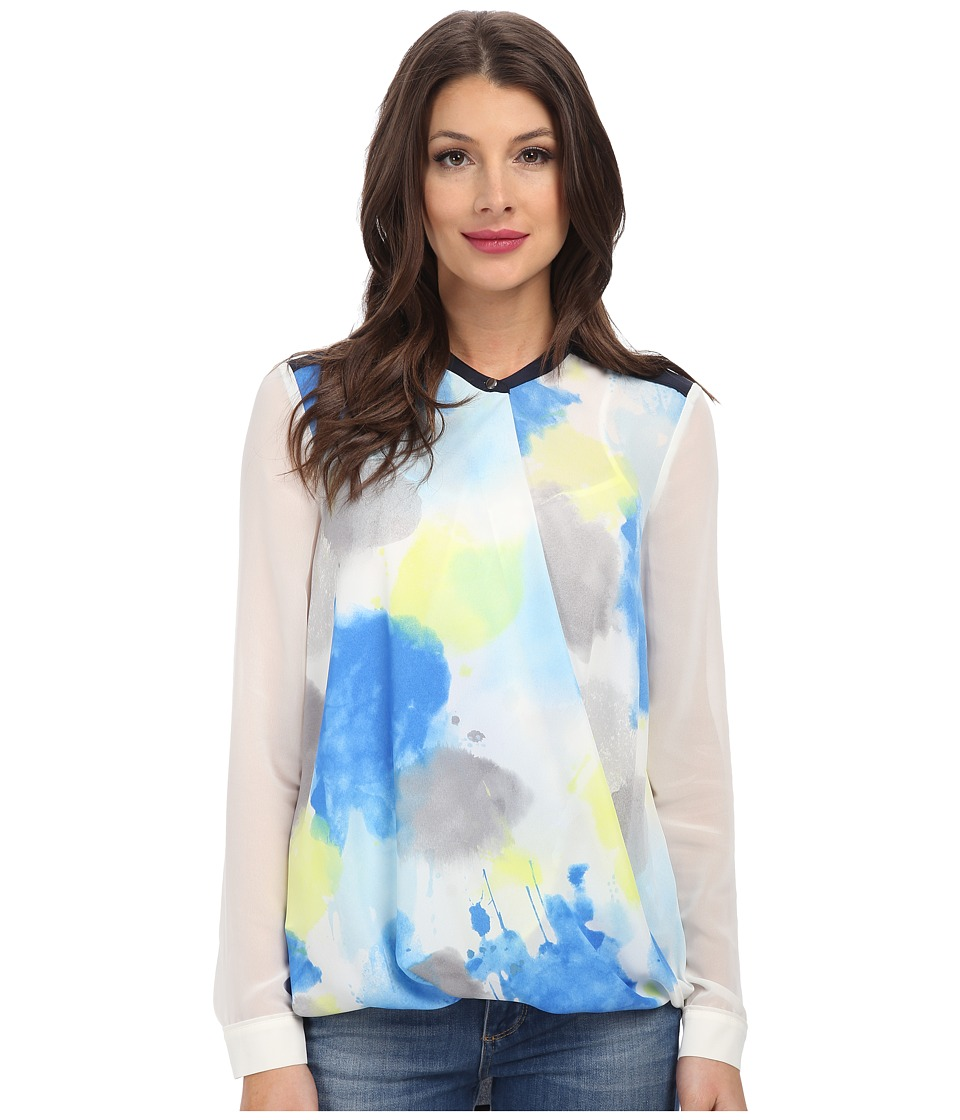 DKNYC - Drape Front Color Block Blouse w/ Crepe De Chine Back (Vibrant Blue) Women