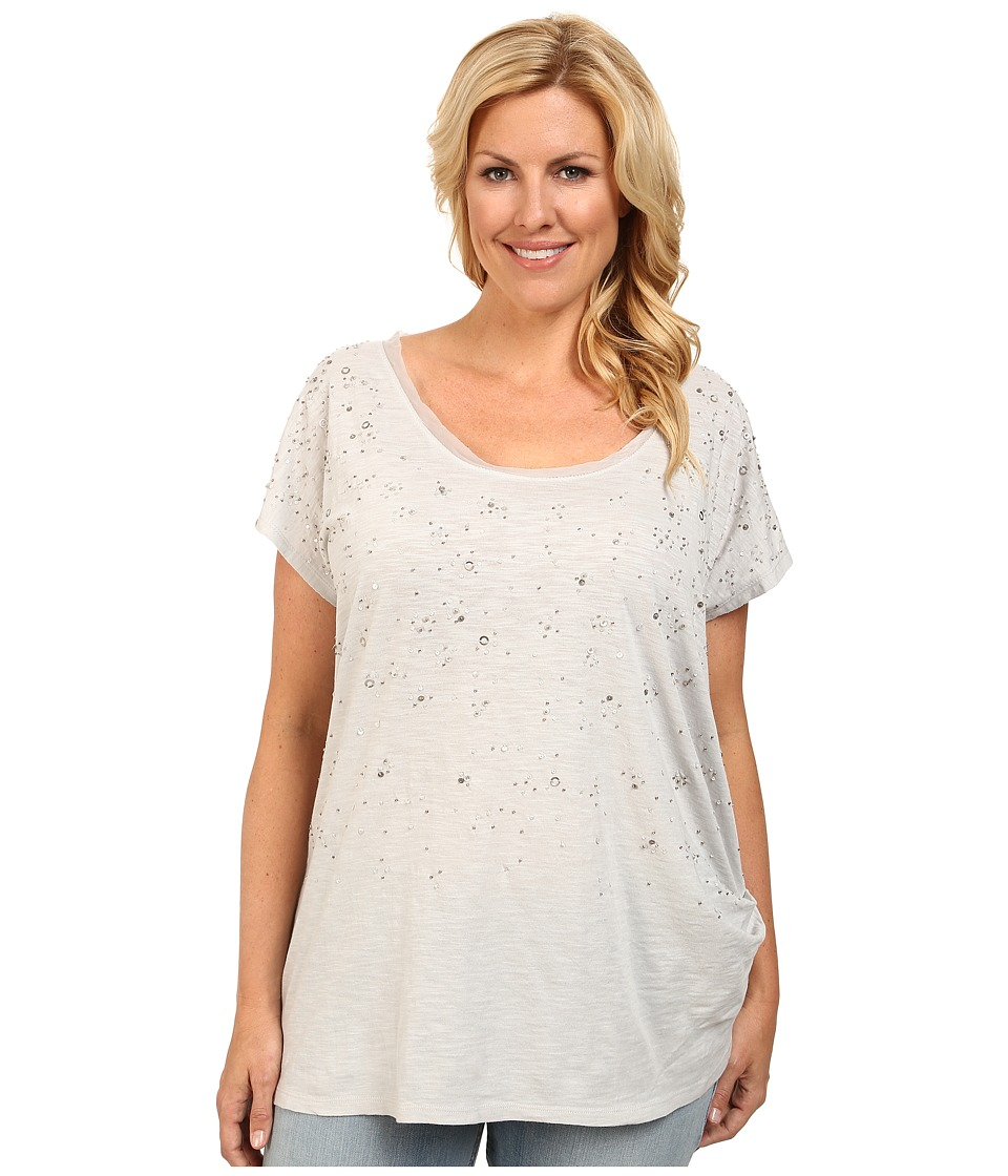DKNY Jeans - Plus Size Embellished Tunic Top (Dove) Women