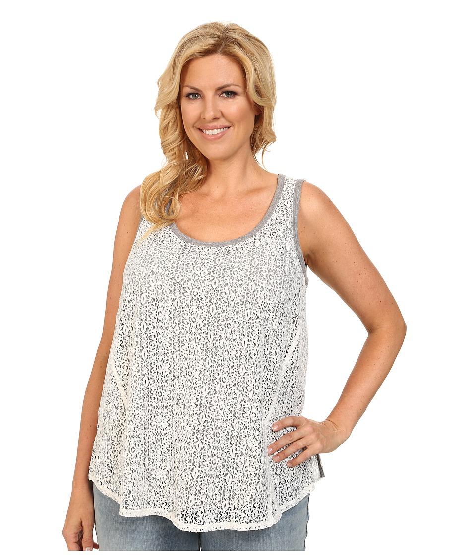 DKNY Jeans - Plus Size Foil Lace Tank Top (Polar Cream) Women's Sleeveless