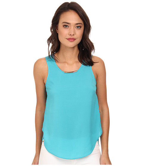 DKNYC - Crepe De Chine Metal Neck Trim Top w/ Chiffon Back (Blue Bird) Women