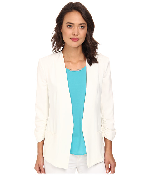 DKNYC - Open Front Ruched Sleeve Blazer (Ivory) Women's Jacket