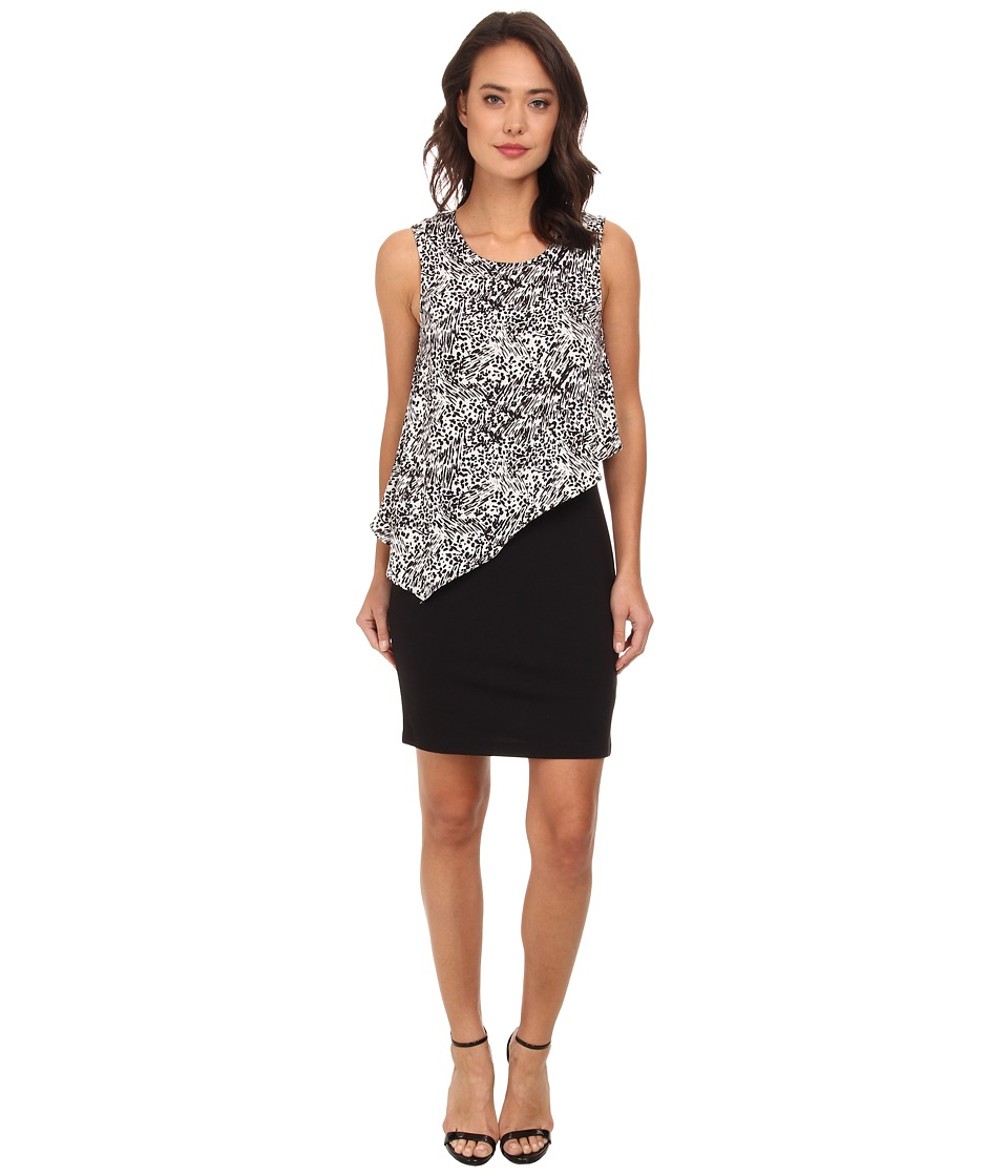 DKNYC - Lightweight Ponte Dress w/ Painted Animal Print Overlay (Ivory) Women's Dress