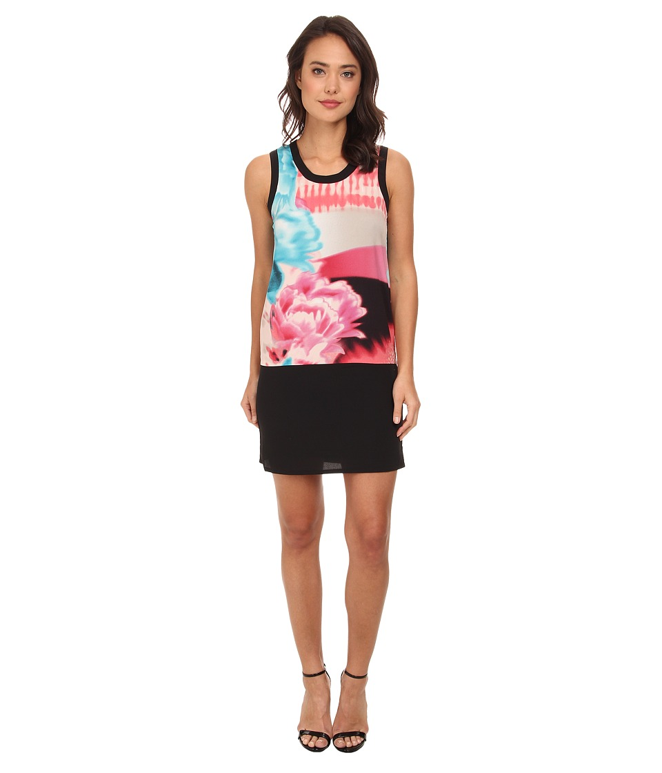 DKNYC - Printed Shift Dress w/ Solid Piecing (Sorbet) Women's Dress