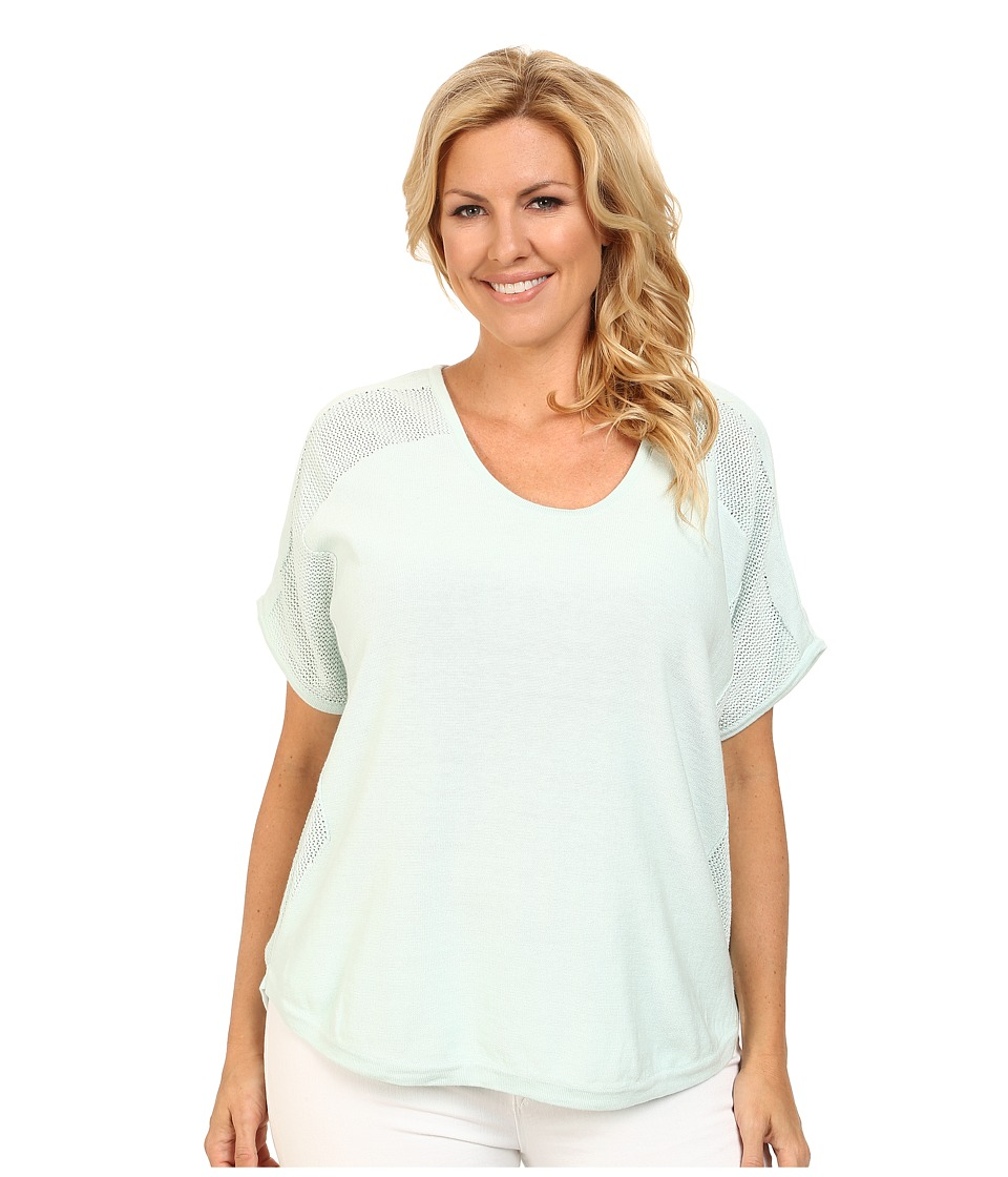 DKNY Jeans - Plus Size Mixed Mesh Curved Hem Tee (Mint) Women's Short Sleeve Pullover