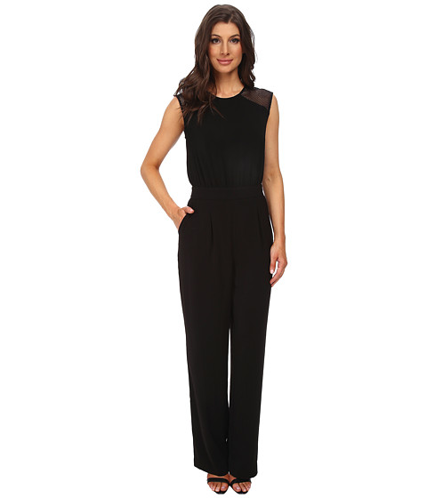 DKNYC - Tech Crepe Straight Leg Jumpsuit w/ Honeycomb Mesh (Black) Women