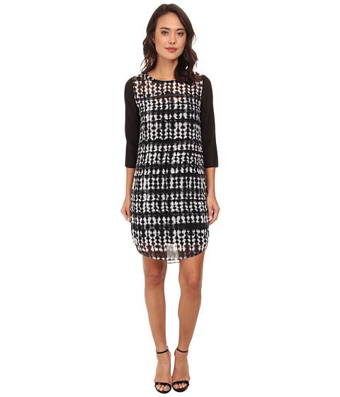 DKNYC - Pleat Front Dress w/ Solid Sleeves (Ivory) Women