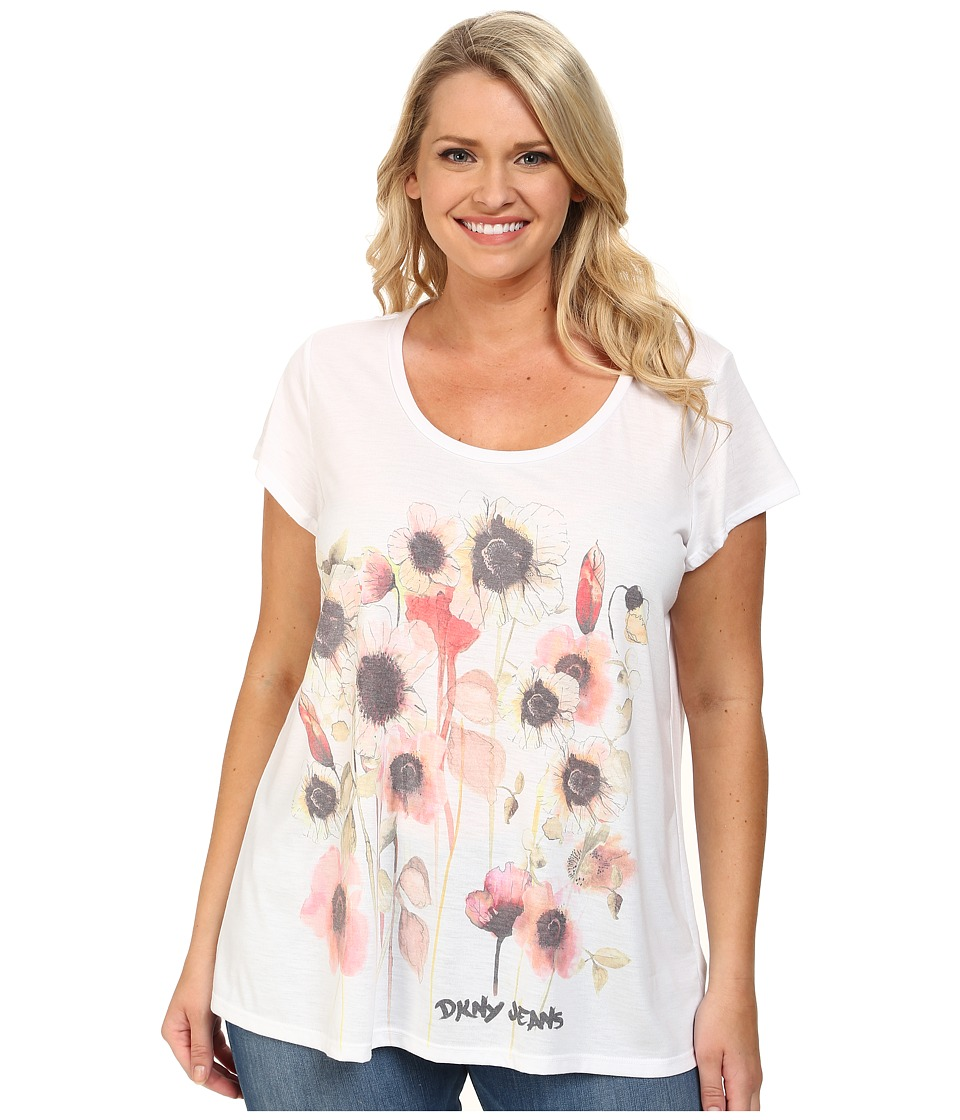 DKNY Jeans - Plus Size Spring Garden Print Tee (White) Women's Short Sleeve Pullover