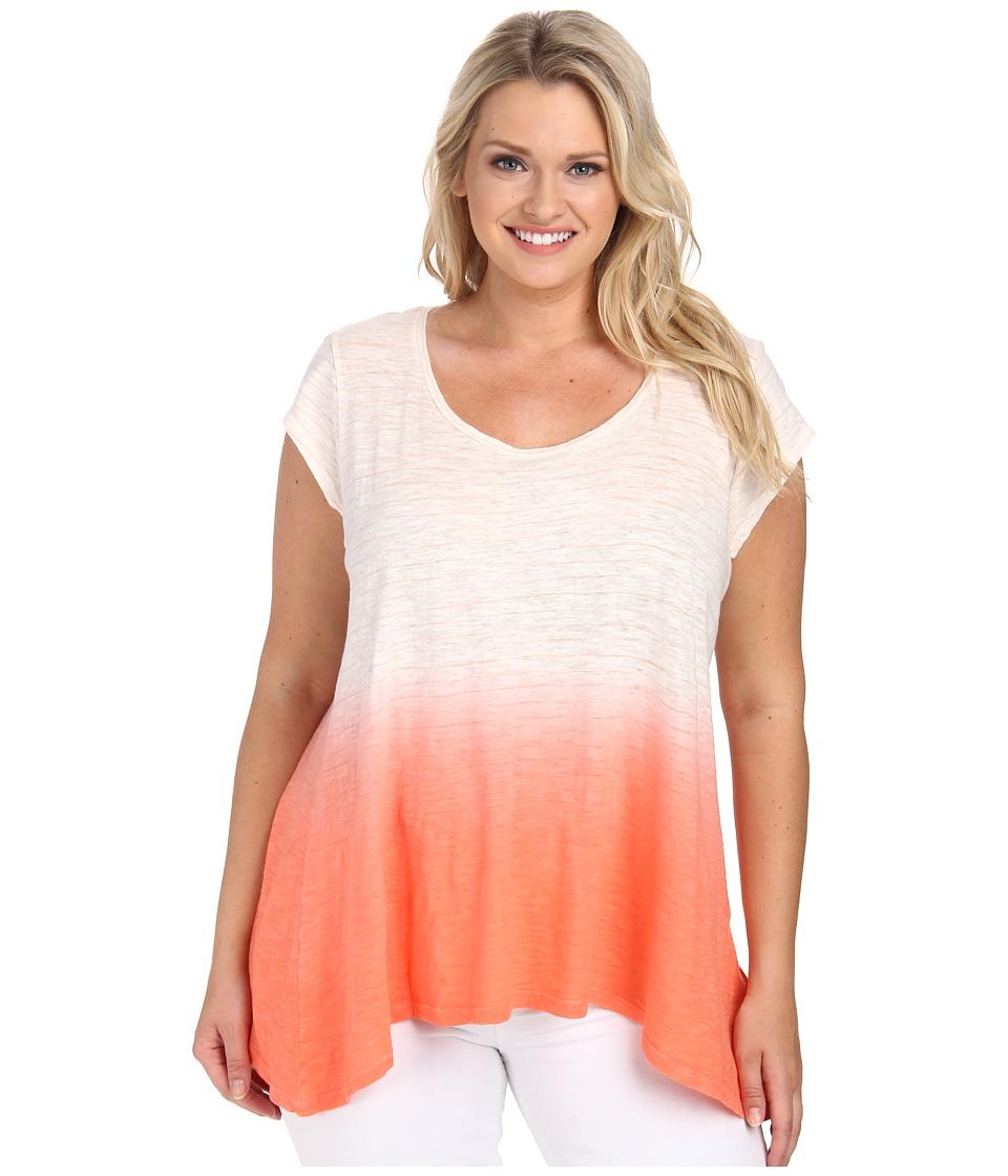 DKNY Jeans - Plus Size Dip Dye Stripe Sharkbite Tee (Coral) Women