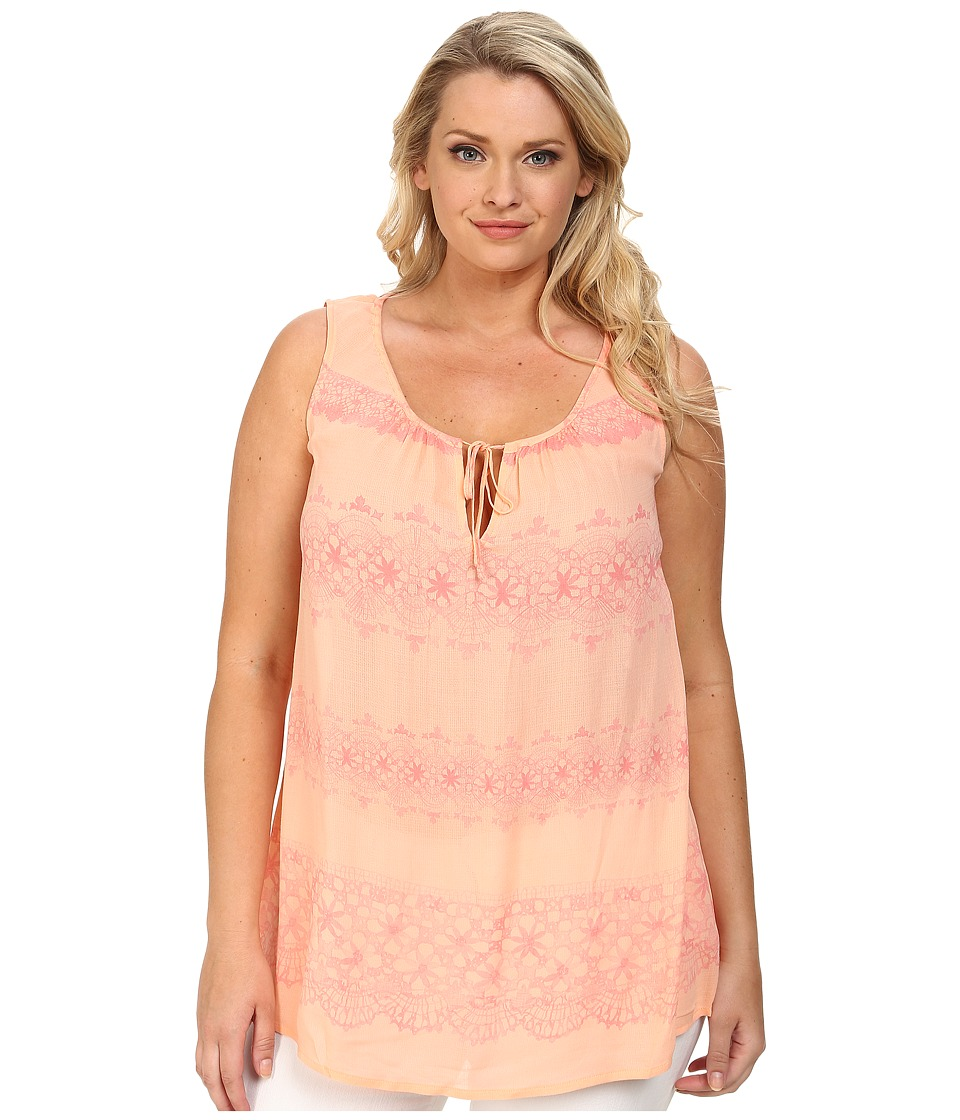 DKNY Jeans - Plus Size Printed Lace Tank Top (Coral) Women's Sleeveless