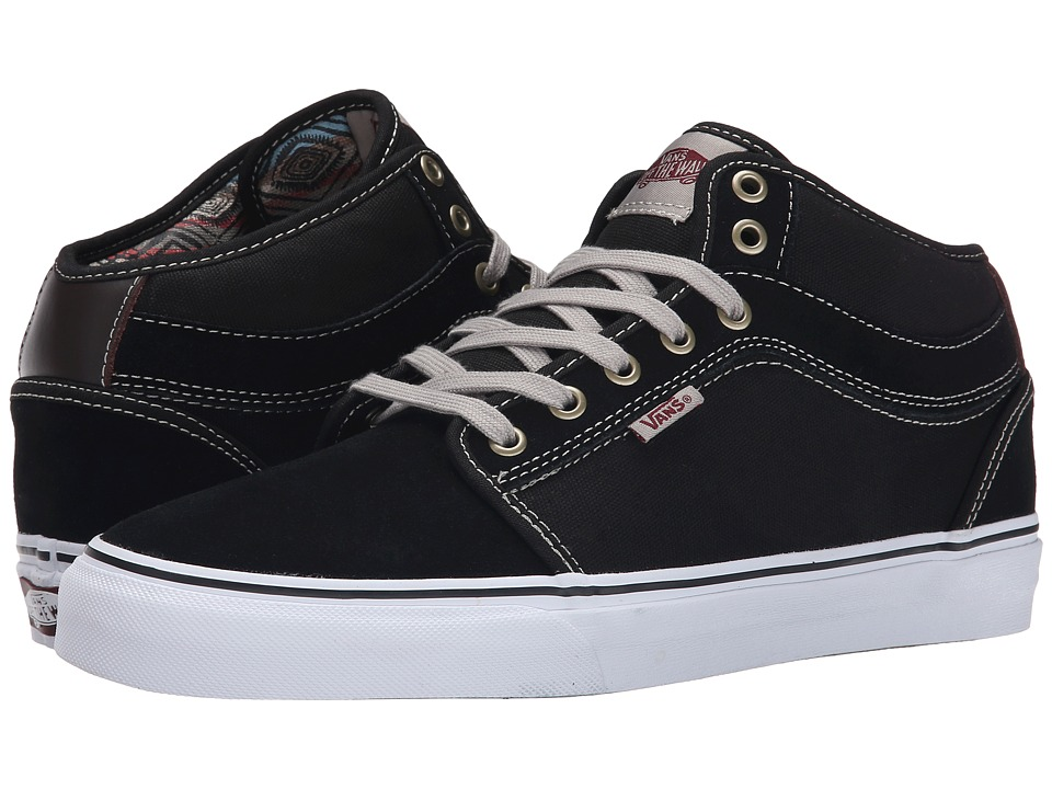Vans - Chukka Mid Top ((Chucho Stripe) Black/White) Men's Skate Shoes